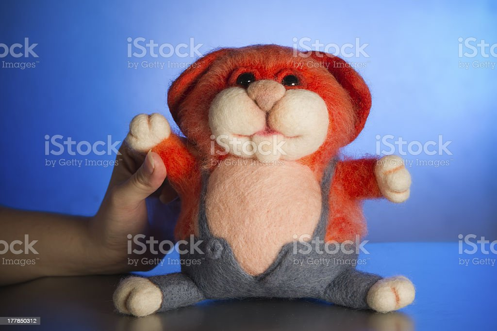 Felted cat royalty-free stock photo