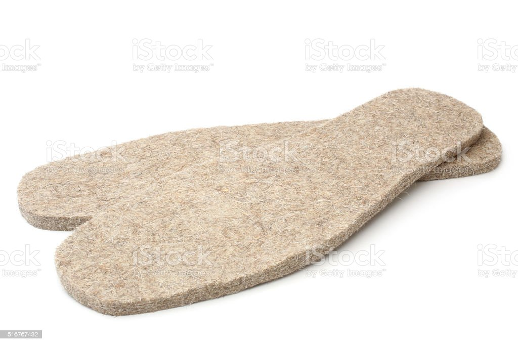 Felted insoles for shoes stock photo