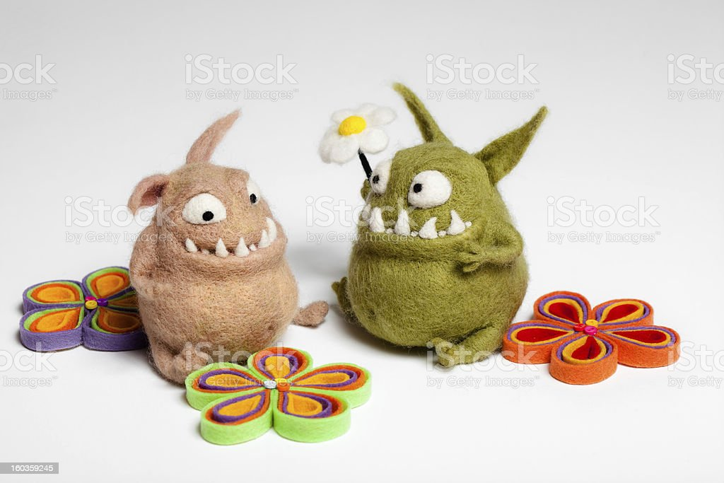 Felted Toy Mosters in Love royalty-free stock photo