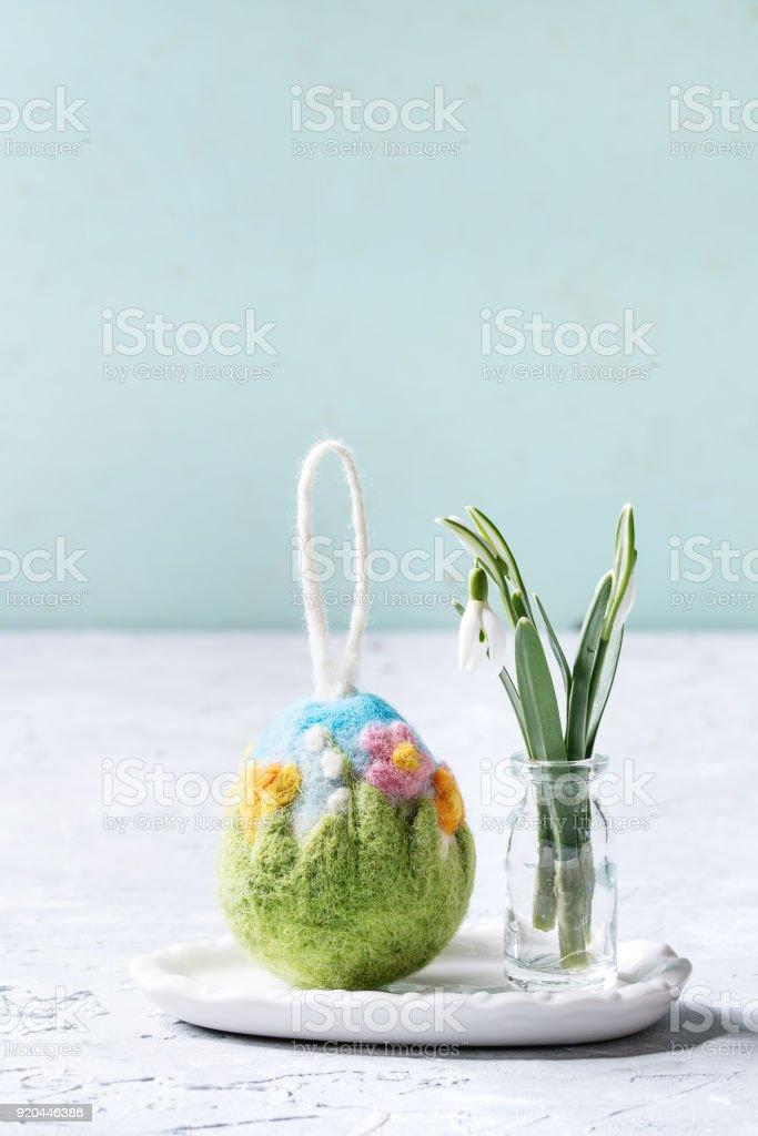 Felting Easter egg stock photo
