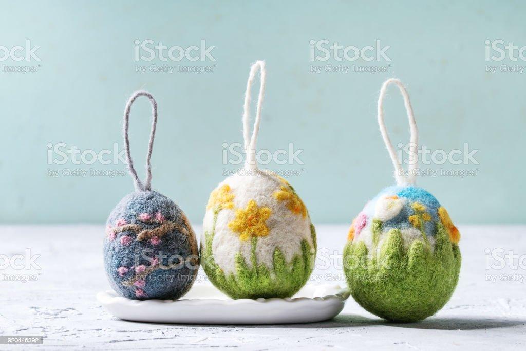 Felting Easter eggs stock photo
