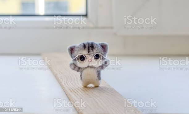 Felting toy little gray kitten in glasses on wooden stand picture id1041125344?b=1&k=6&m=1041125344&s=612x612&h=vw2k eh4 spr9ccrqj1xjciehhvysuven8qp5ntkoue=