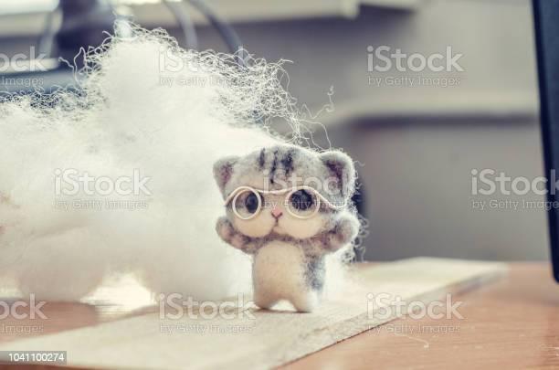 Felting toy small gray kitten in glasses on wooden stand wool on picture id1041100274?b=1&k=6&m=1041100274&s=612x612&h=f8u 4gb06dgm9ctsxlnzhub5dep9zmf 4i74 tsrais=