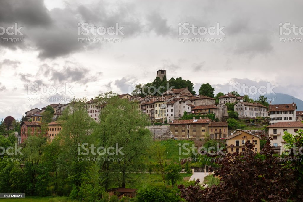 Feltre (Belluno) panorama and cloudy sky - foto stock
