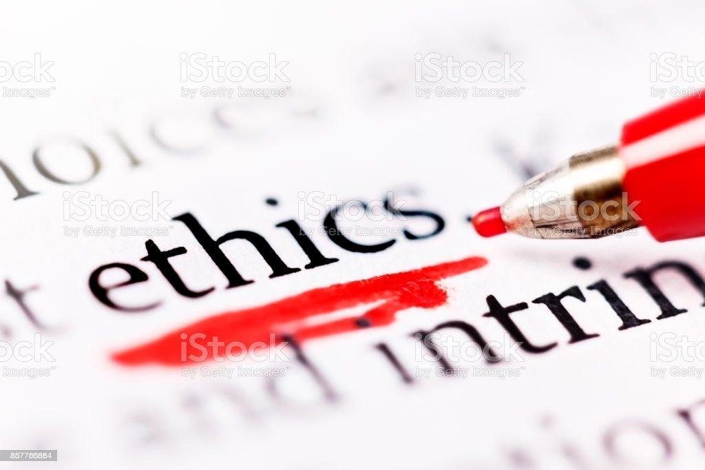 Felt-tip pen underlines word 'ethics' in document stock photo