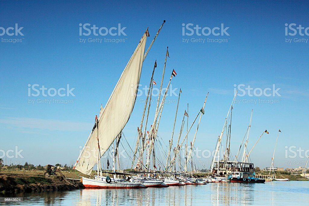 Felucca boats on river nile at luxor royalty-free stock photo