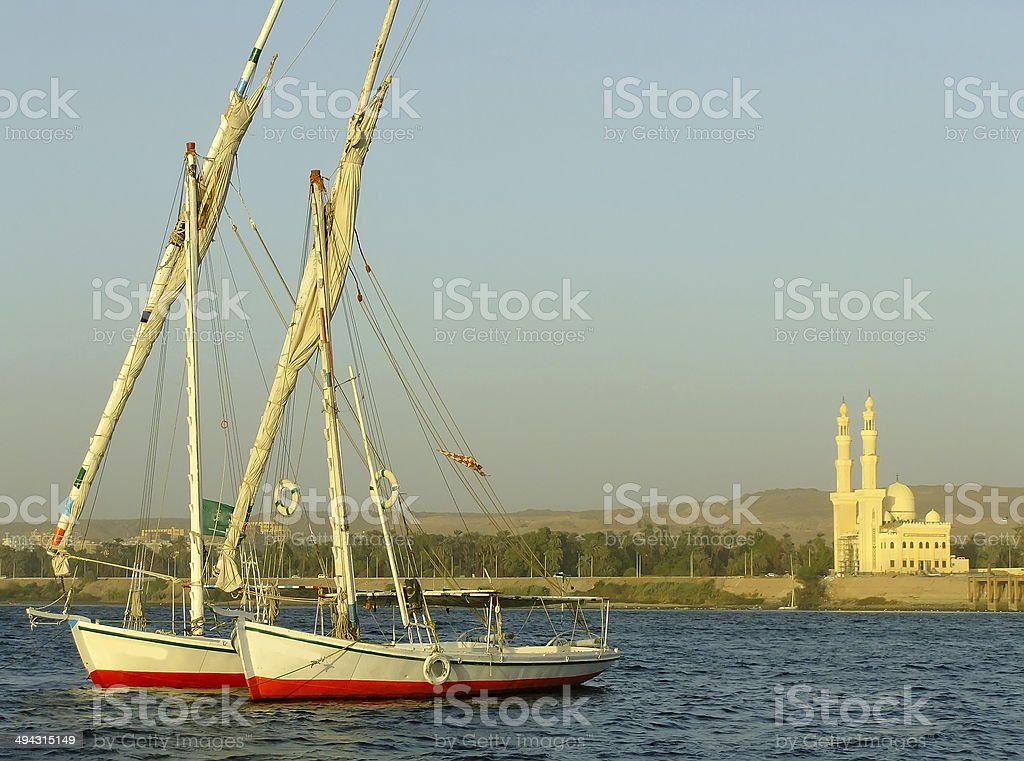 Felucca boats on the Nile river bank royalty-free stock photo