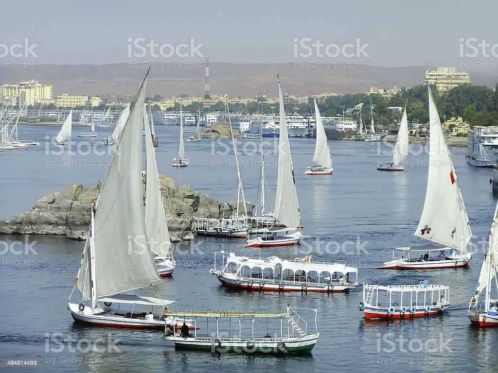 Felucca boats sailing on the Nile river, Aswan royalty-free stock photo