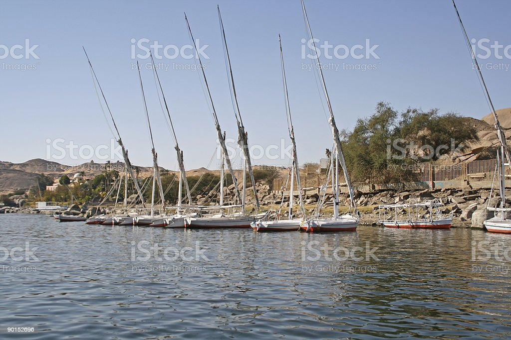 Felucca Sailing Boats - River Nile (Egypt) royalty-free stock photo