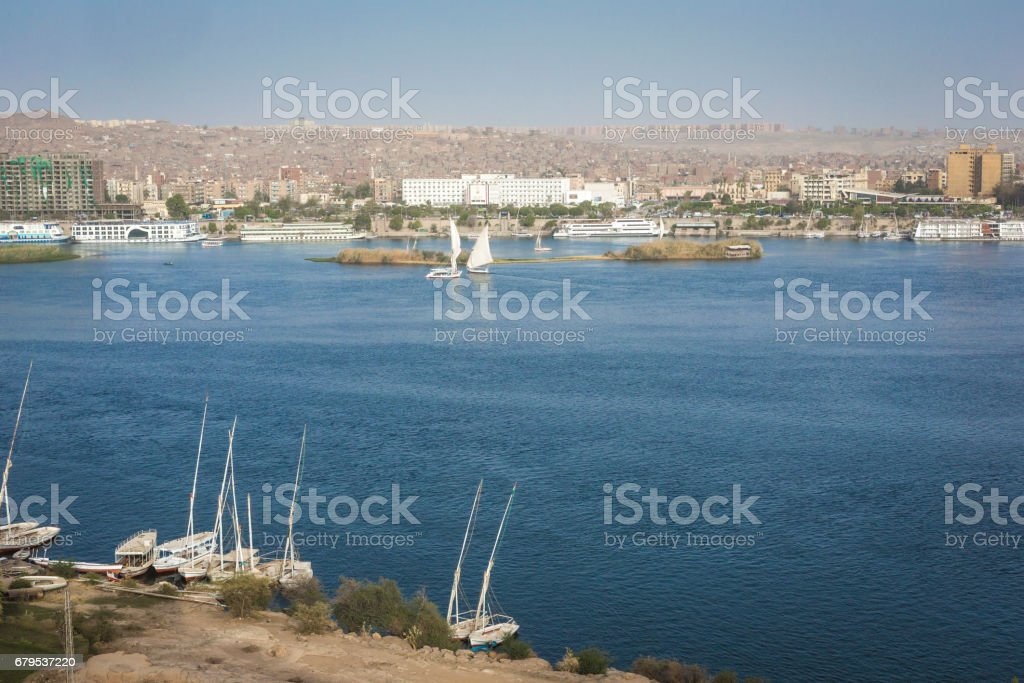 Feluccas sailing on the Nile near Aswan, Egypt royalty-free stock photo