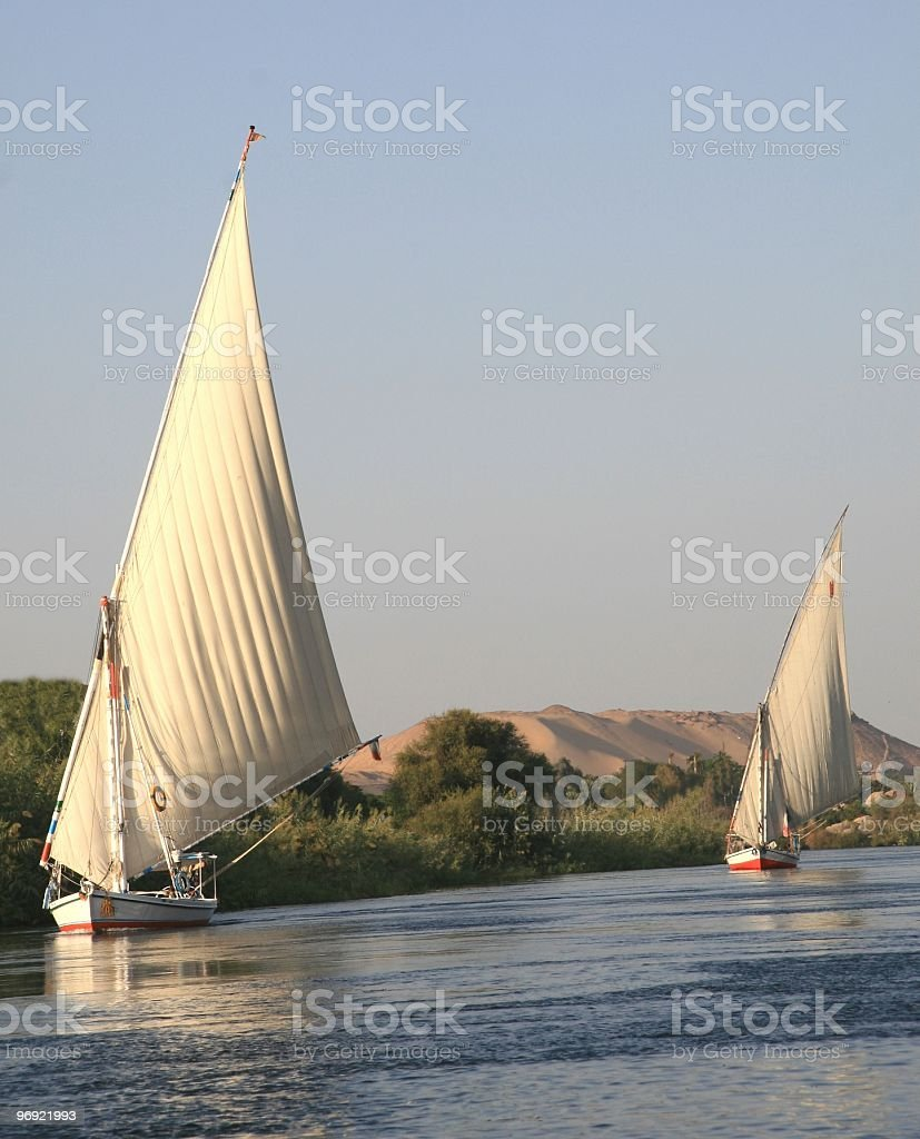 Feluccas Under Sail on the River Nile, Egypt royalty-free stock photo