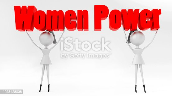 3D render of female cartoon characters holding women's rights block letter text above head. Isolated on white background.