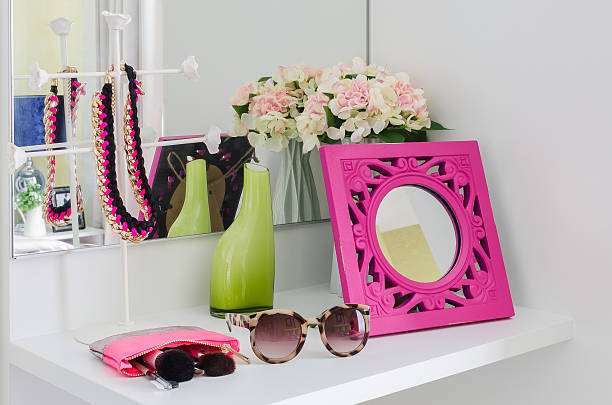female accesories on dressing table stock photo