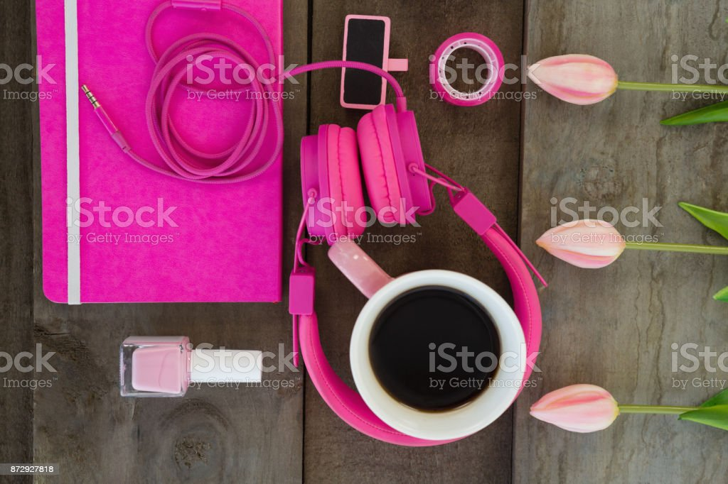 Female accessories, stationery and coffee stock photo