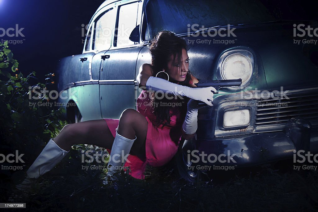Female action movie concept stock photo