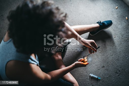 istock Female addict preparing heroin dose 1172483692