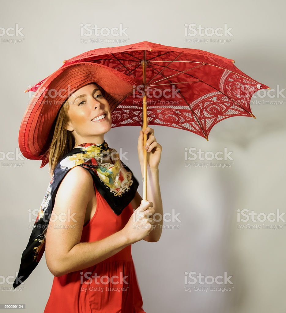 Female Adult Walking With A Parasol royaltyfri bildbanksbilder