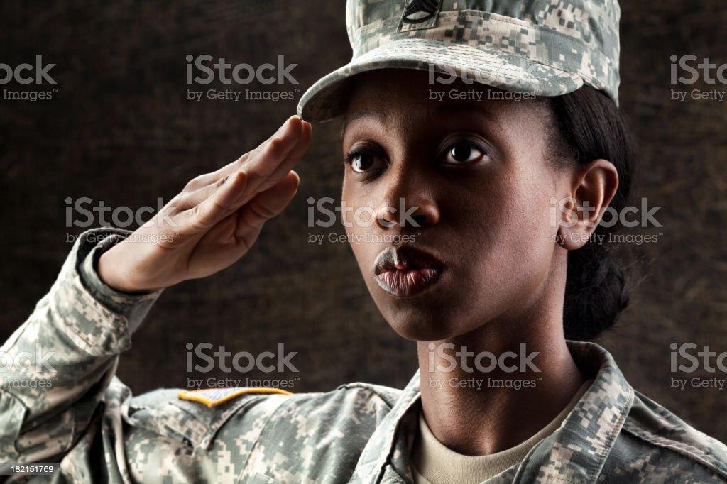 Female African American Soldier Series: Against Dark Brown Background stock photo
