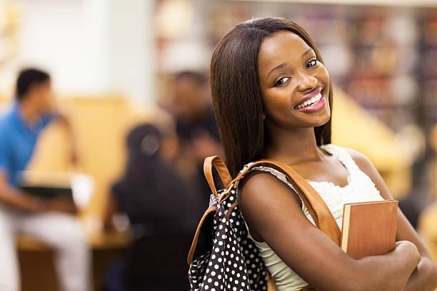 female african american university student stock photo