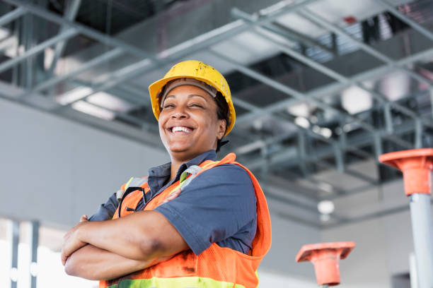 Female African-American construction worker stock photo