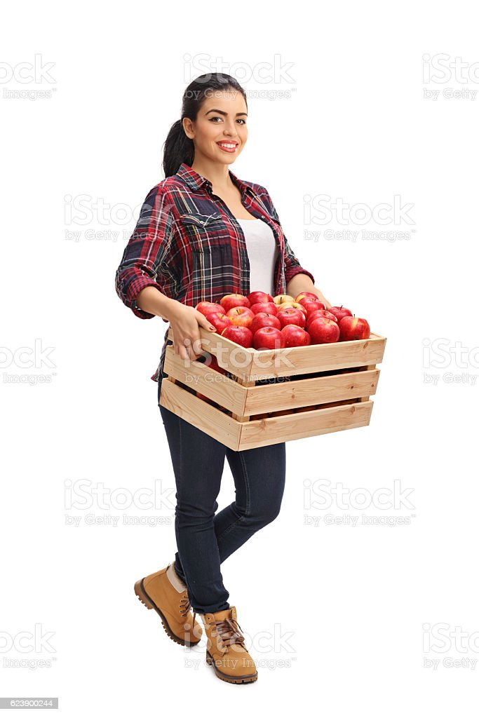 Female agricultural worker holding a crate full of apples - Photo