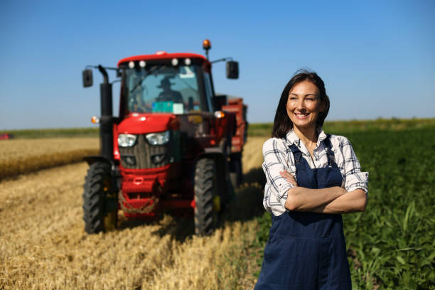 Female agricultural worker stock photo
