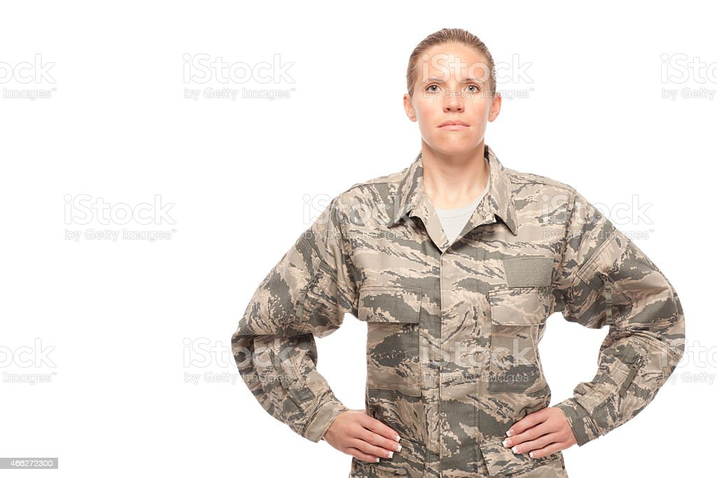 Female airman with hand on hips stock photo