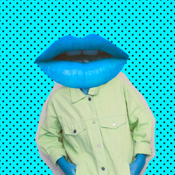 female alien model with the big blue lips instead  head on background with dots. - pop art foto e immagini stock