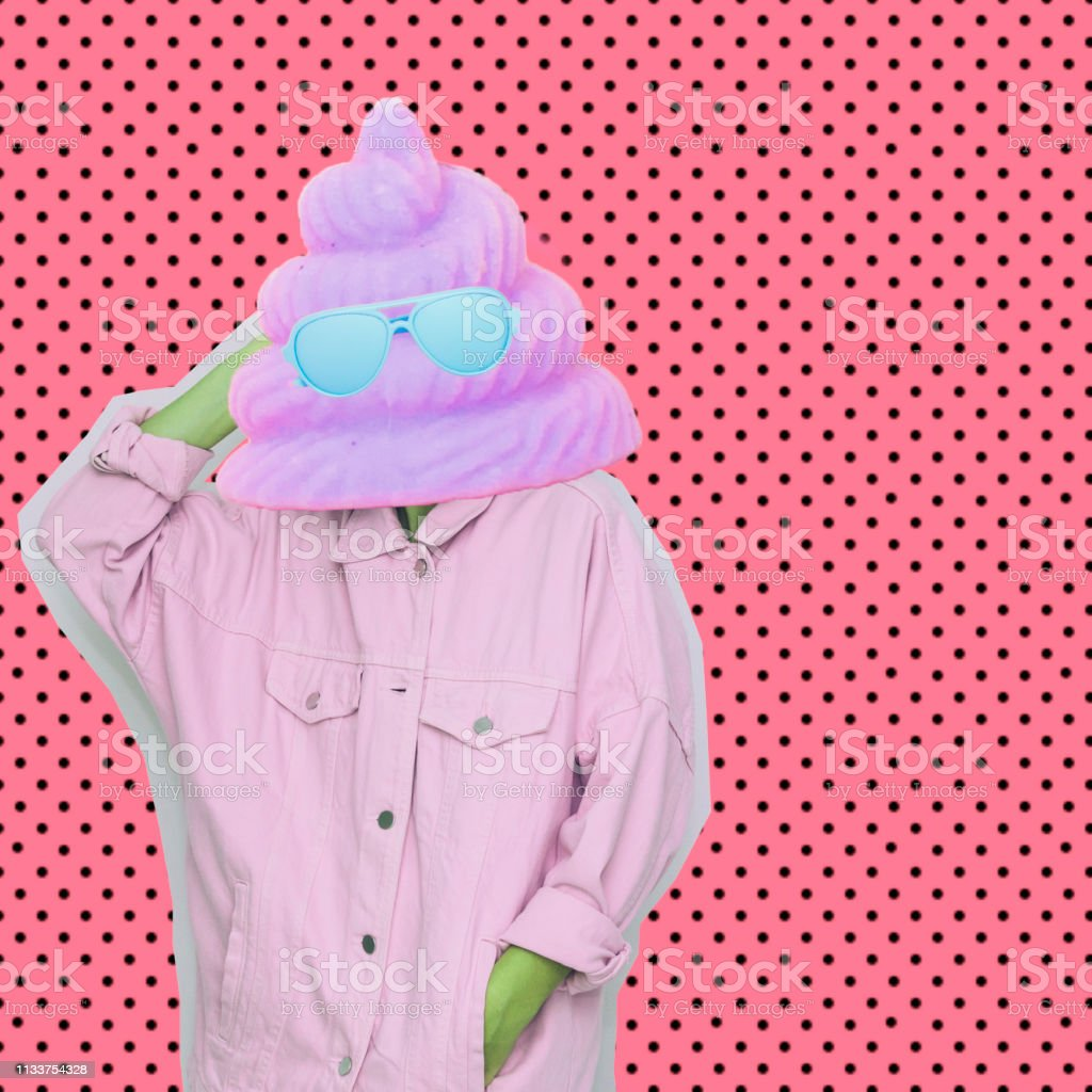 Female alien model with unicorn poo in sunglasses instead head on dots background. Modern art collage. Female alien model with unicorn poo in sunglasses instead head on dots background. 1980-1989 Stock Photo