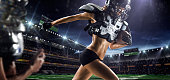 Closed up female american football players