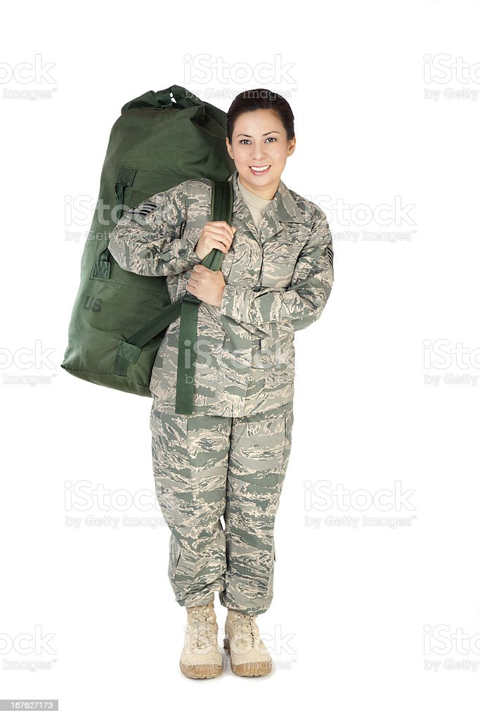 Female American Soldier in Air Force Camouflage Uniform stock photo