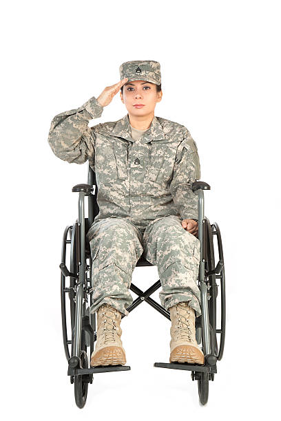 Female American Soldier in Wheelchair stock photo