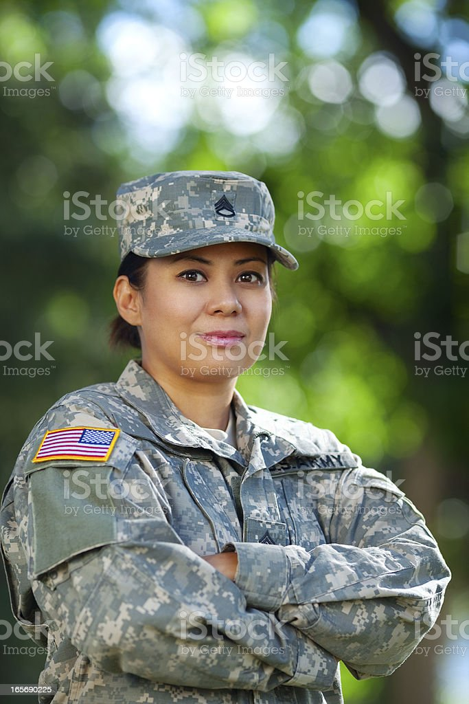 Female American Soldier Series: Outdoor Portrait royalty-free stock photo