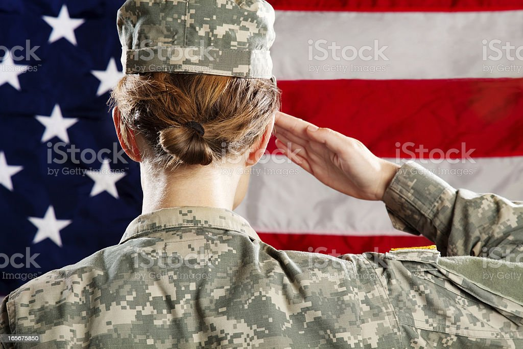 Female  American Soldier Series: Saluting royalty-free stock photo