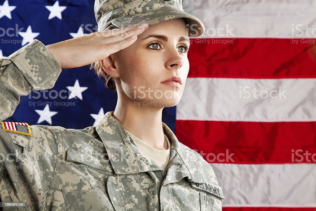 Female American Soldier Series:Against USA Flag stock photo