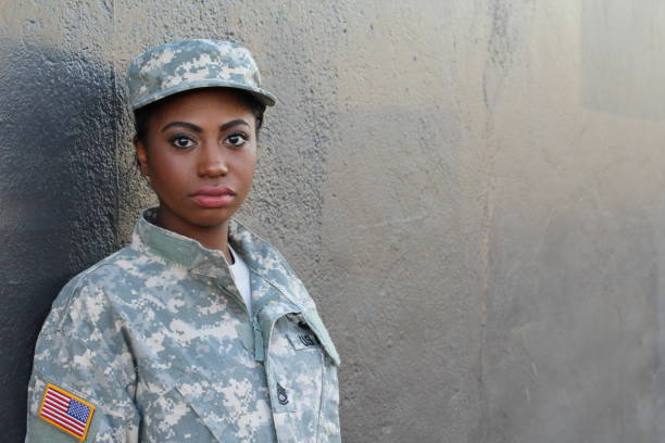 Female American Soldier - Stock image Female American Soldier - Stock image with Copy Space. us military stock pictures, royalty-free photos & images