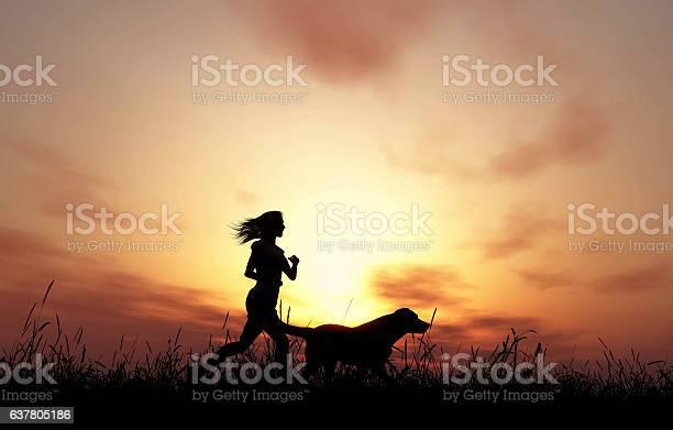 Female and dog jogging at sunset picture id637805186?b=1&k=6&m=637805186&s=612x612&h=2pz u2yt17moavdfbj8nxxd6 qguj ukxmmegjkhdwa=