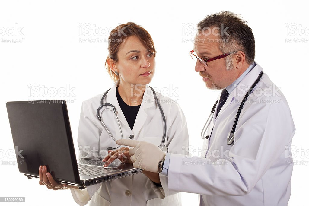 Female and Male Doctor on White Background royalty-free stock photo