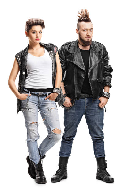 female and male punker - punk music stock photos and pictures