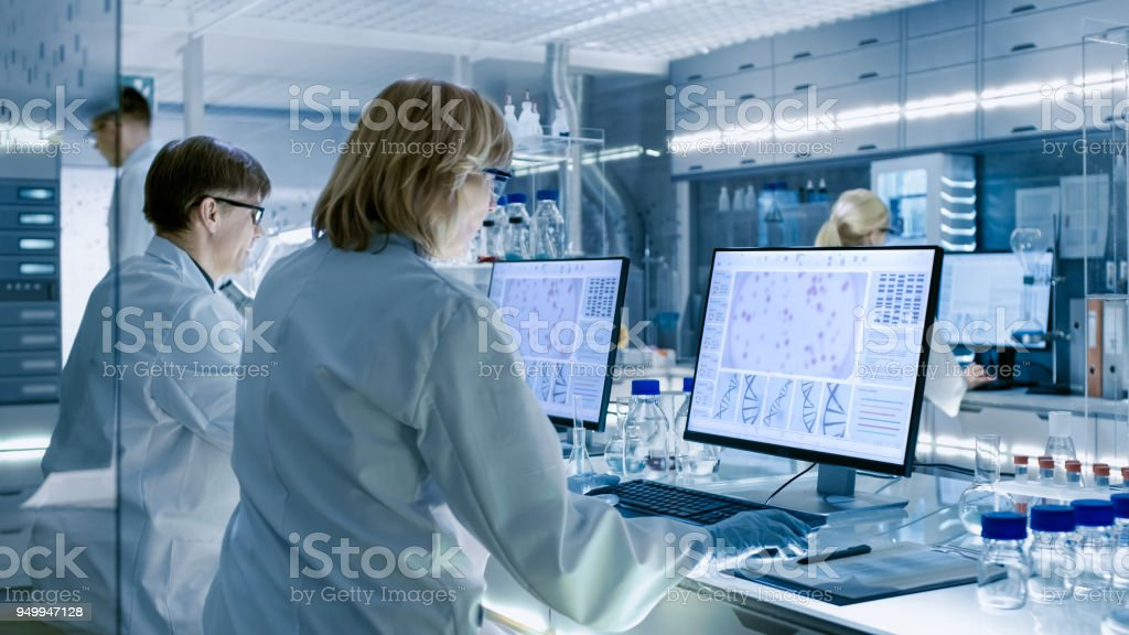 Female and Male Scientists Working on their Computers In Big Modern Laboratory. Various Shelves with Beakers, Chemicals and Different Technical Equipment is Visible. stock photo