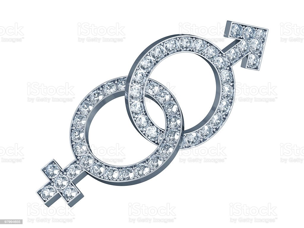 Female and Male Symbols with Diamonds royalty-free stock photo