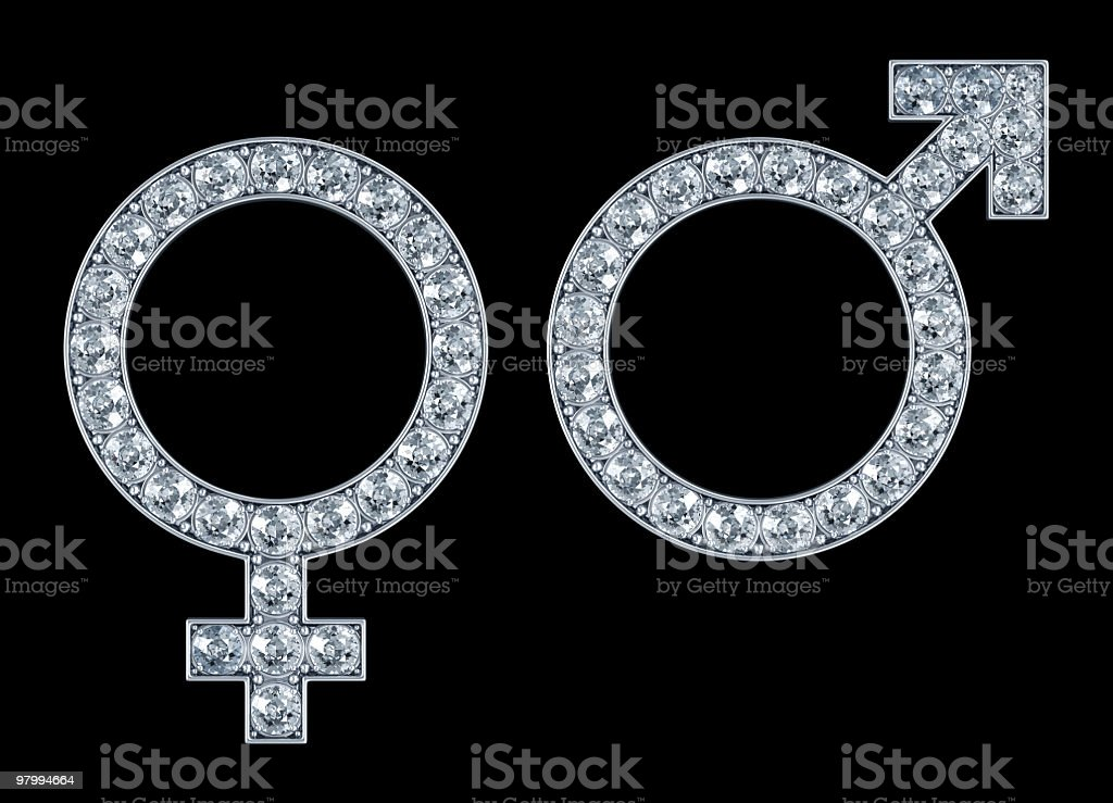 Female and Male Symbols with diamonds stock photo