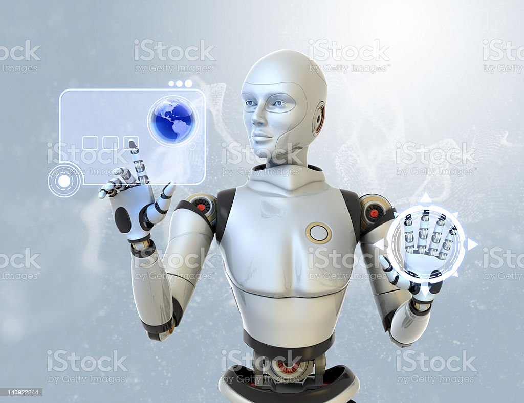 Female android using a futuristic interface royalty-free stock photo