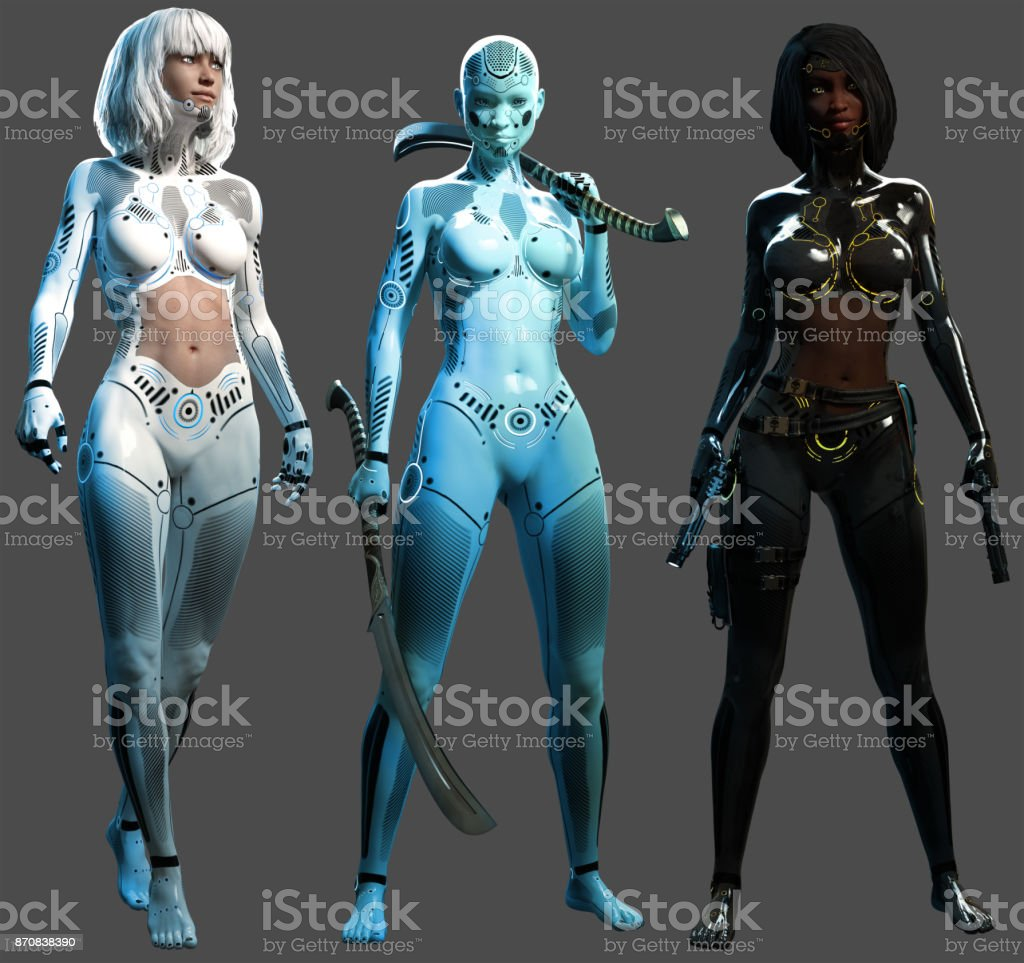 Female androids stock photo