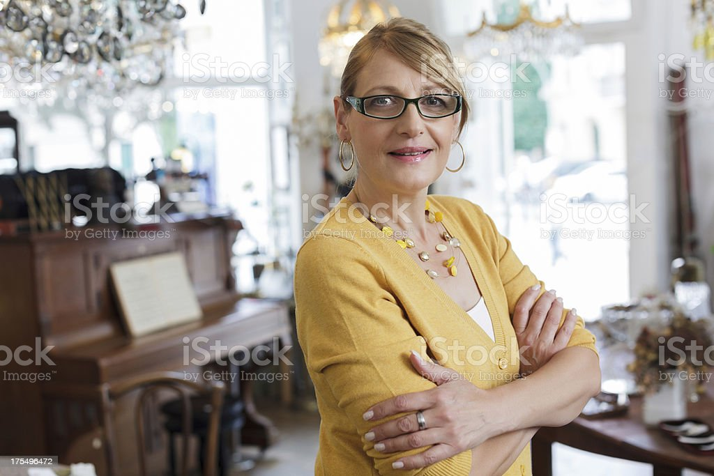 Female Antique Store Owner stock photo