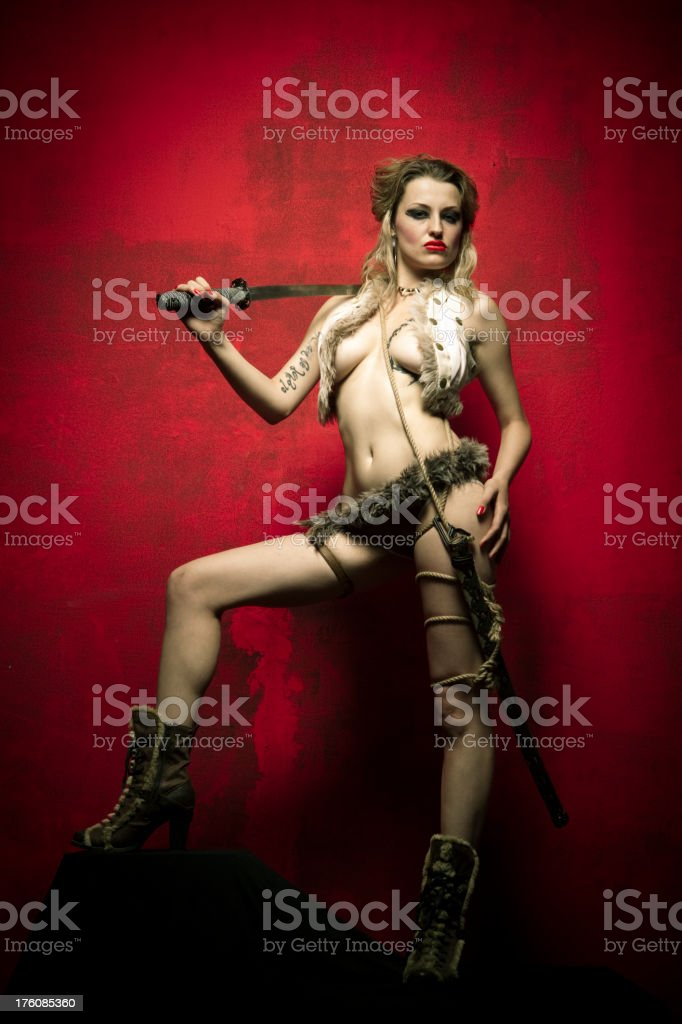 Female antique warrior royalty-free stock photo