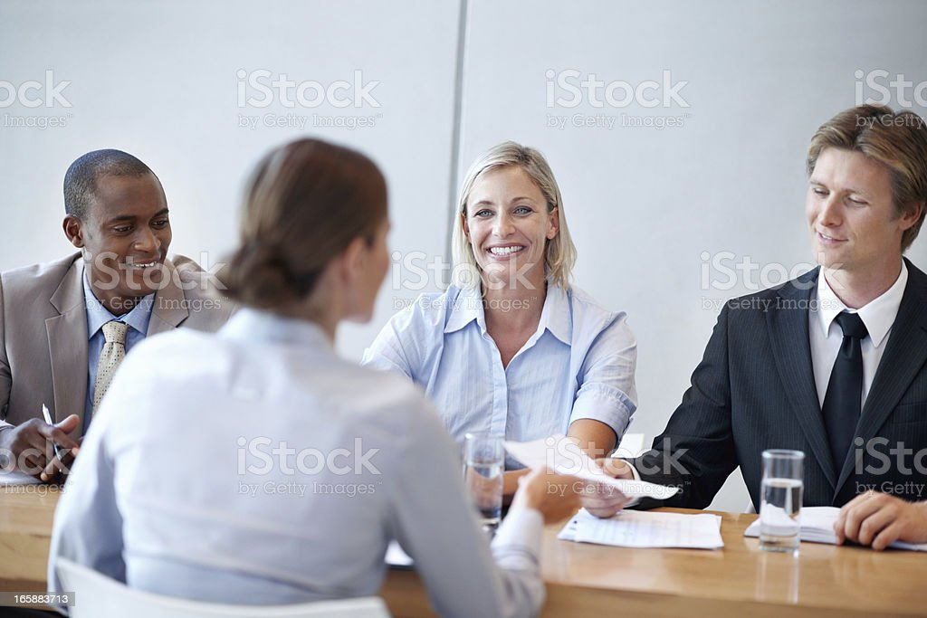 Female applicant giving her interview royalty-free stock photo