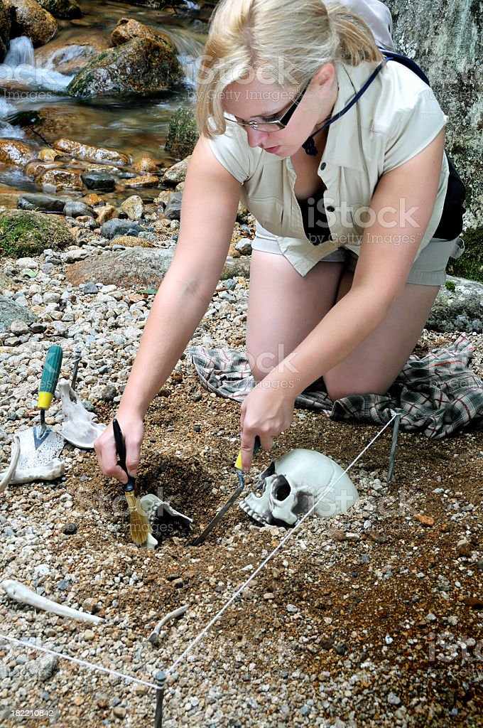 Female Archaeologist on a Dig royalty-free stock photo