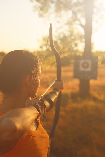 istock Female archer in the field at sunset 484151622