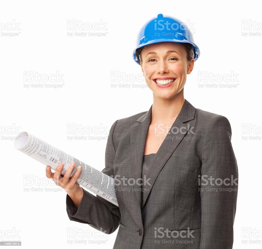 Female Architect Holding Blueprint - Isolated royalty-free stock photo